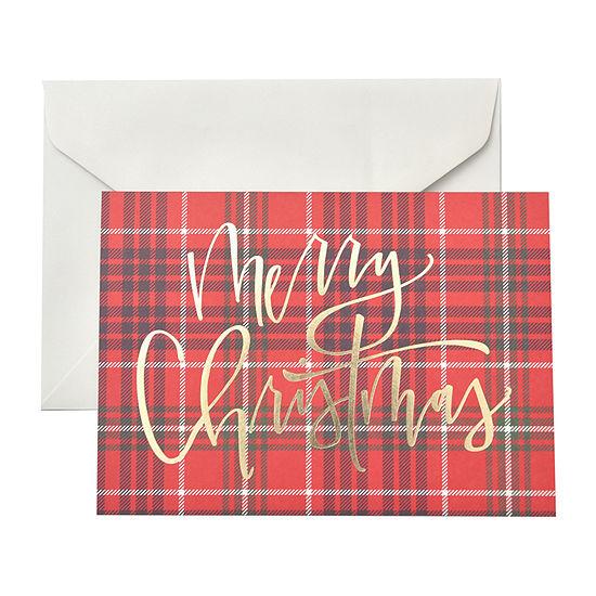 Gartner Studios 20 Count 5X7 Plaid Merry Christmas Christmas Greeting Cards