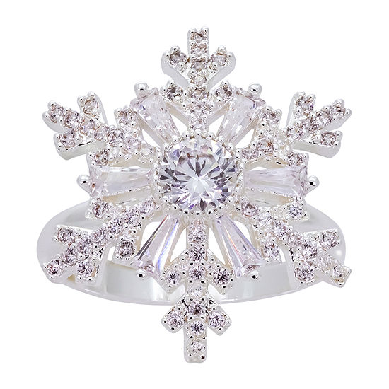 Sparkle Allure Cubic Zirconia Pure Silver Over Brass Snowflake Cocktail Ring