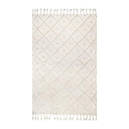 nuLoom Jinny Trellis Tassel Loomed Rug, One Size , White