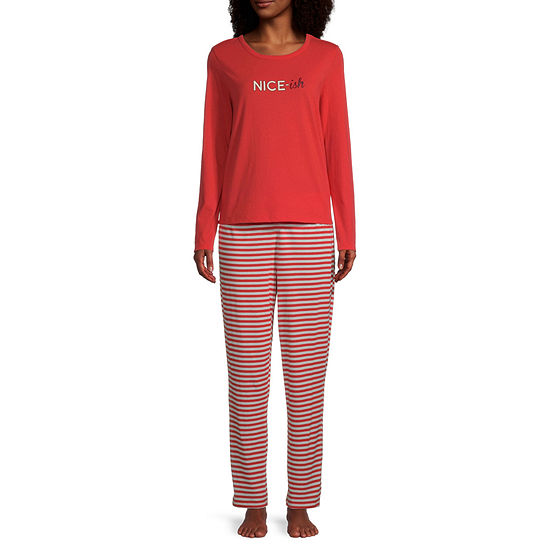 Sleep Chic Womens Long Sleeve Pant Pajama Set 2-pc.