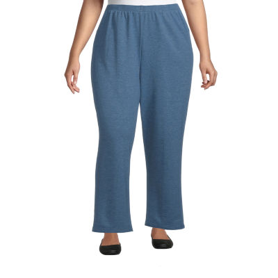 Alfred Dunner-Plus Short Long Weekend Womens Straight Pull-On Pants