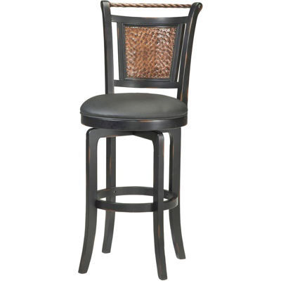 Norwood Hammered Metal Swivel Barstool with Back