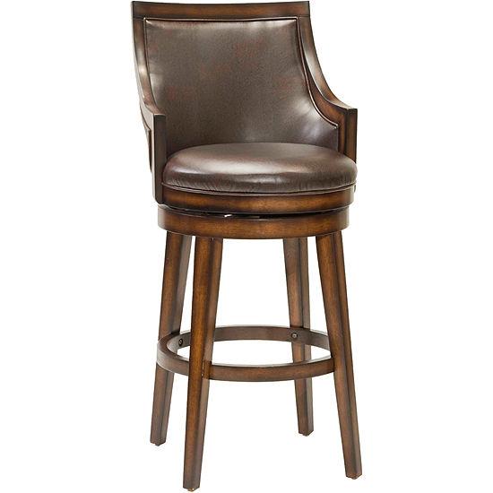 Lyman Upholstered Swivel Barstool With Back