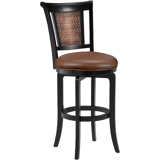 Nora Hammered Metal Swivel Barstool With Back