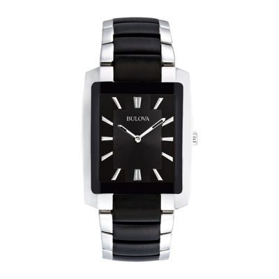 Bulova® Mens Rectangular Black and Silver-Tone Stainless Steel Watch 98A117