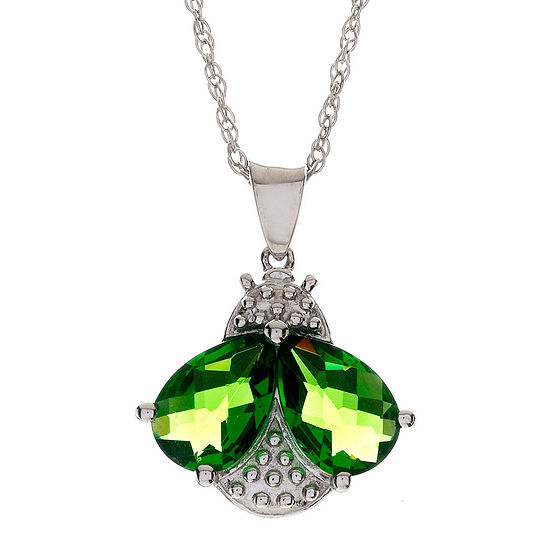 Peridot bee pendant sterling silver simulated peridot bee pendant necklace aloadofball