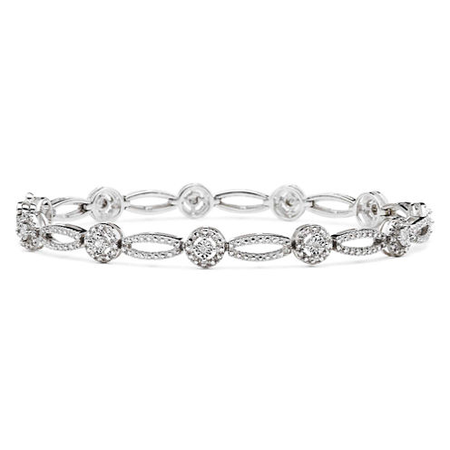 1/10 CT. T.W. Diamond Oval & Round Bracelet