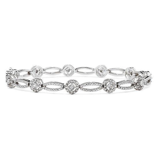 1/10 CT. T.W. Genuine Diamond Oval & Round Bracelet