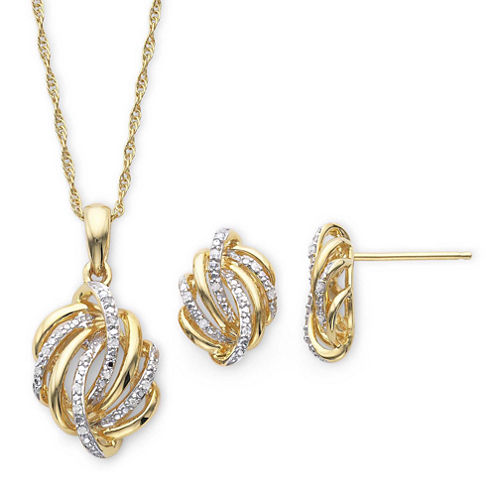 1/10 CT. T.W. Diamond Love Knot Pendant Necklace & Earrings Boxed Set