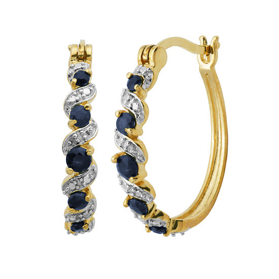 Sparkle Allure Genuine Sapphire Hoop Earrings