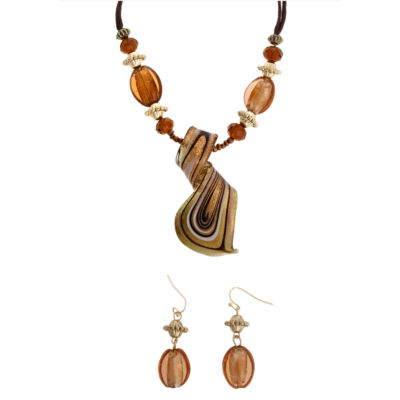 Mixit™ Gold-Tone Murano Brown Glass Twist Earrings & Necklace Set