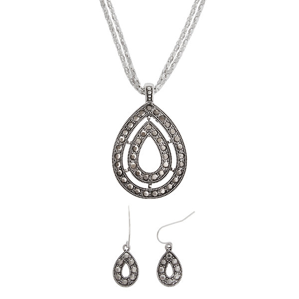 Simulated Marcasite Teardrop Pendant Necklace & Earrings Set