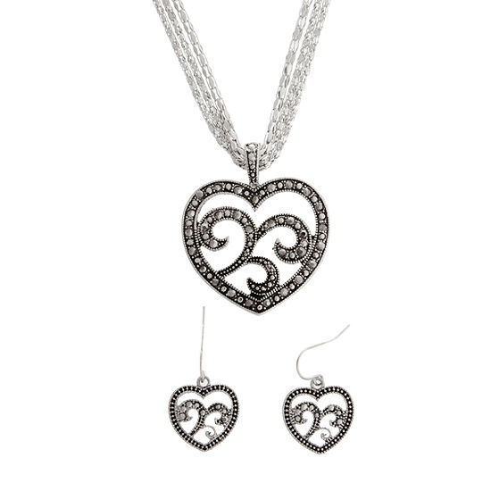 Simulated Marcasite Heart Pendant & Earrings Set