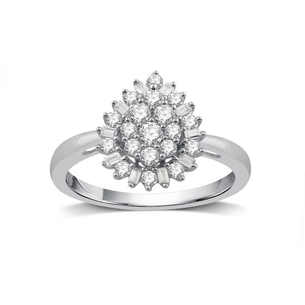 Fine Jewelry Diamond Blossom Womens 1 1/2 CT. T.W. White Diamond 10K Gold Cocktail Ring gL18MMol