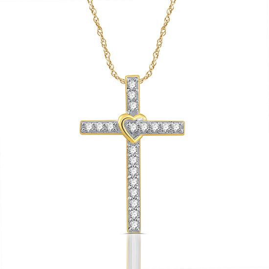 Womens 1 4 Ct Tw Genuine White Diamond 10k Gold Cross Pendant Necklace