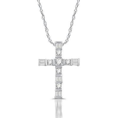 Womens 1/4 CT. T.W. Genuine White Diamond 10K Gold Cross Pendant Necklace