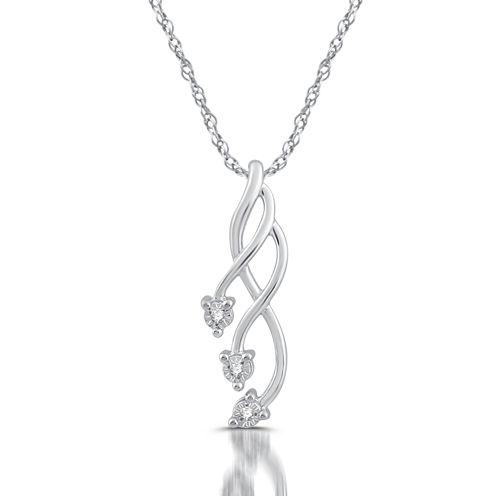 Womens Diamond Accent White Diamond 10K Gold Pendant Necklace