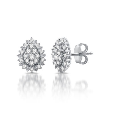 Diamond Blossom 1/2 CT. T.W. Genuine White Diamond 10K Gold 11mm Stud Earrings