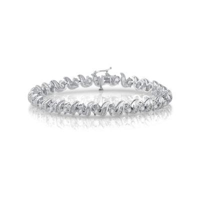 Womens 3 CT. T.W. White Diamond 10K Gold Tennis Bracelet