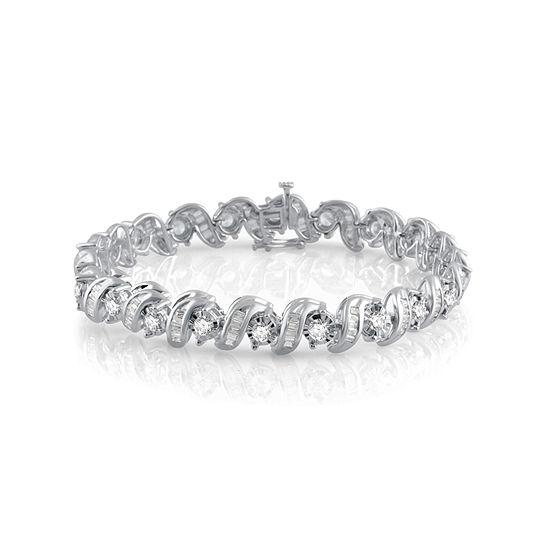 5 Ct Tw Genuine White Diamond 10k Gold 75 Inch Tennis Bracelet