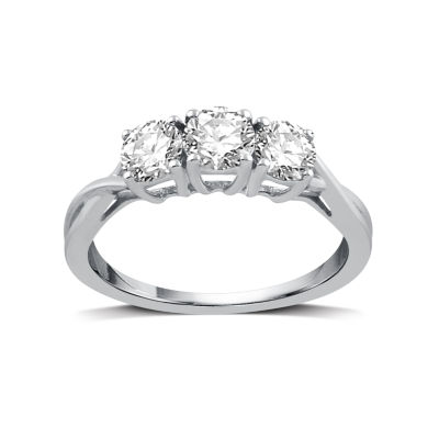 1 CT. T.W. Round White Diamond 10K White Gold 3-Stone Ring