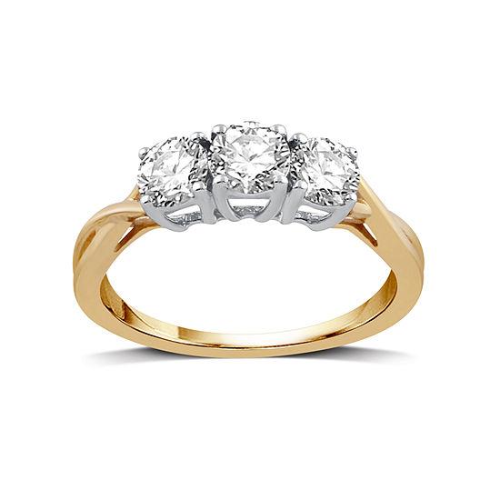 1 Ct Tw Round White Diamond 10k Gold 3 Stone Ring