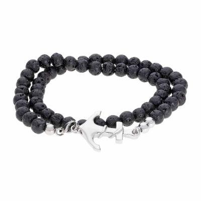 Mens Black Stainless Steel Wrap Bracelet