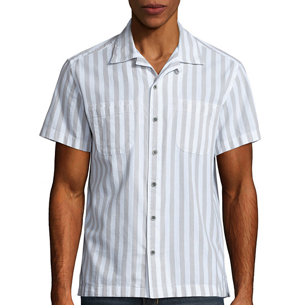 Arizona Short Sleeve Stripe Button-Front Shirt
