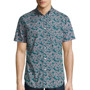 Arizona Short Sleeve Floral Button-Front Shirt