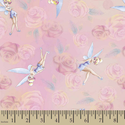 Disney Tink With Roses Cotton Fabric