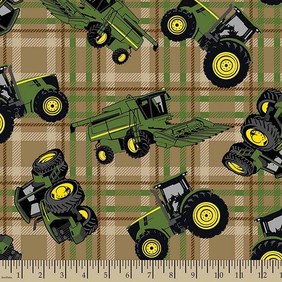 John Deere Tractors Plaid Cotton Fabric