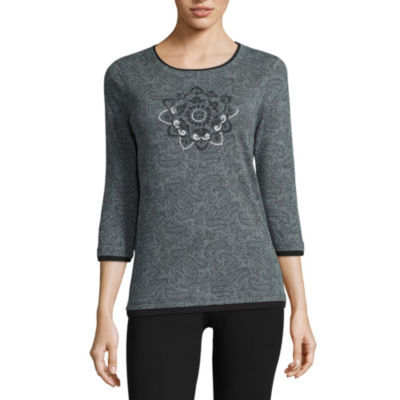 Made For Life 3/4 Sleeve Pattern T-Shirt-Womens