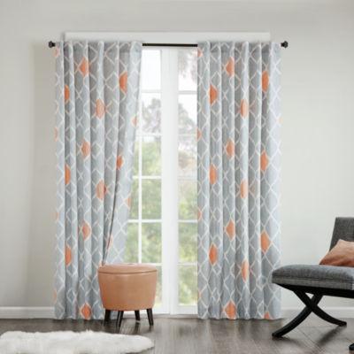 Nile Diamond Geometric Grommet-Top Curtain Panel