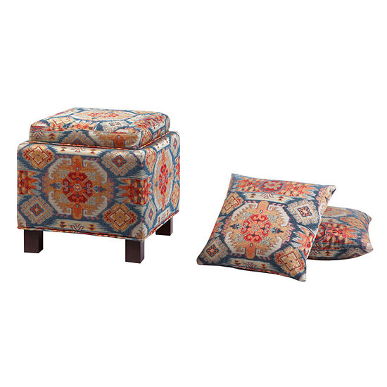 Surprising Madison Park Allison Square Storage Ottoman With Pillows Pdpeps Interior Chair Design Pdpepsorg