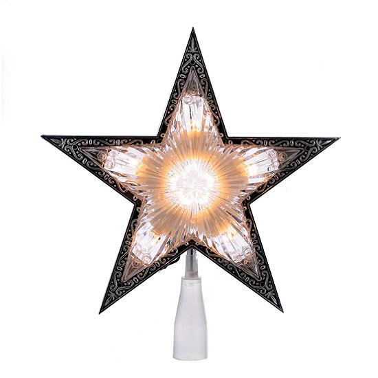 """Kurt Adler 11"""" Laser Clear Double Sided Star Lighted Treetopper"""