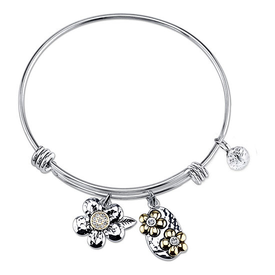 Footnotes Sisters Silver Over Brass Stainless Steel Bangle Bracelet