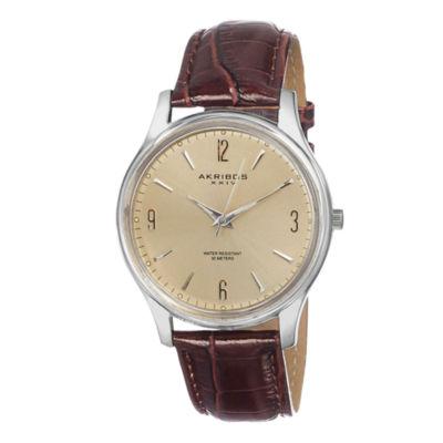 Akribos XXIV Unisex Brown Strap Watch-A-539br
