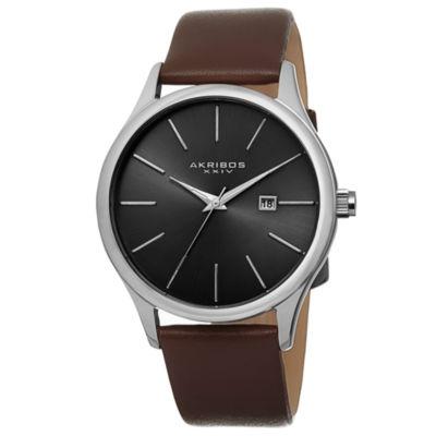 Akribos XXIV Unisex Brown Strap Watch-A-618br
