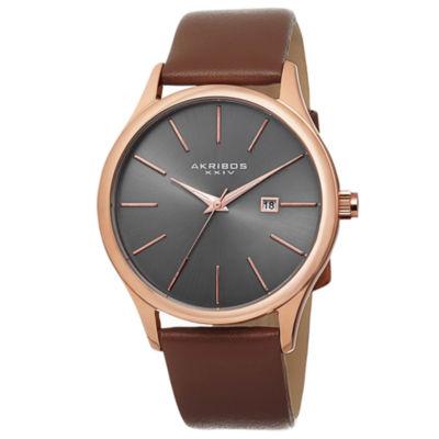 Akribos XXIV Unisex Brown Strap Watch-A-618rg