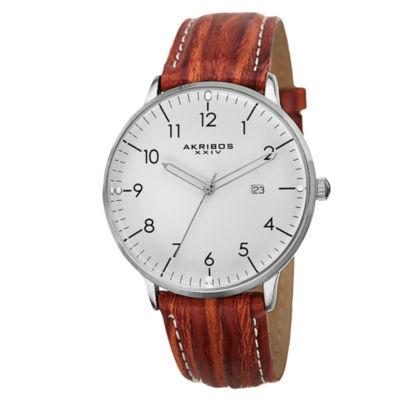 Akribos XXIV Unisex Brown Strap Watch-A-715br