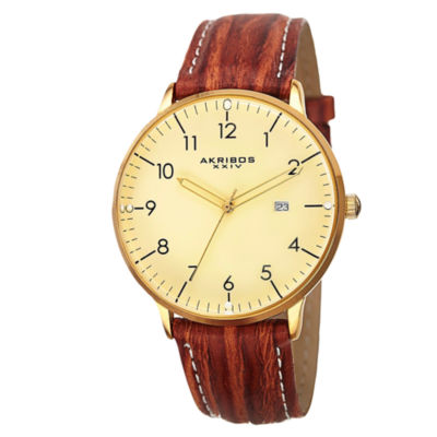 Akribos XXIV Unisex Brown Strap Watch-A-715yg