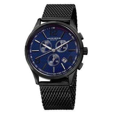 Akribos XXIV Unisex Black Strap Watch-A-719bu