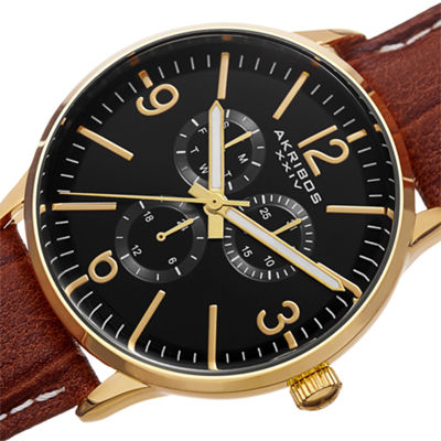 Akribos XXIV Unisex Brown Strap Watch-A-769yg