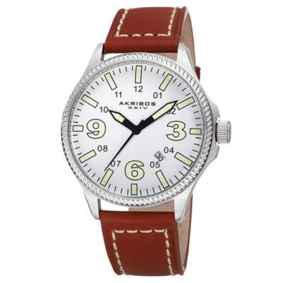Akribos XXIV Unisex Brown Strap Watch-A-833ssbr
