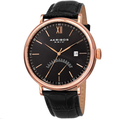 Akribos XXIV Unisex Black Strap Watch-A-845rgbk