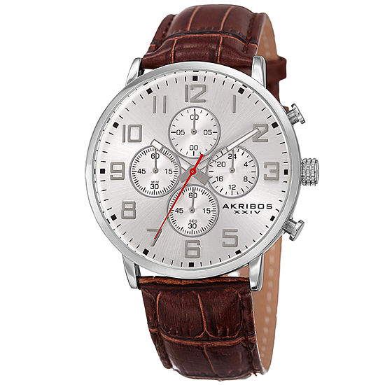 Akribos XXIV Unisex Adult Multi-Function Brown Leather Strap Watch-A-854ssbr