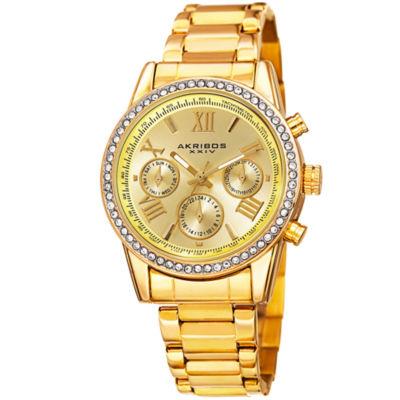 Akribos XXIV Unisex Gold Tone Bracelet Watch-A-872yg