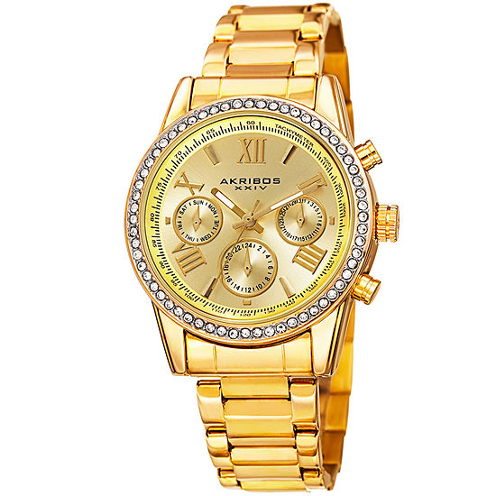 Akribos XXIV Set With Swarovski Crystals Unisex Adult Crystal Accent Gold Tone Stainless Steel Bracelet Watch-A-872yg