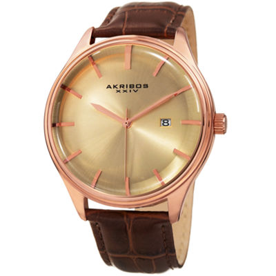 Akribos XXIV Unisex Brown Strap Watch-A-914rgbr