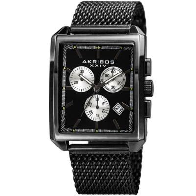 Akribos XXIV Unisex Black Strap Watch-A-918bk